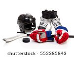 ice hockey equipment featuring... | Shutterstock . vector #552385843