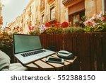 cozy beautiful workspace on...   Shutterstock . vector #552388150