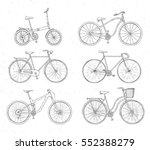 set of hand drawn bicycles... | Shutterstock .eps vector #552388279