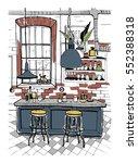 modern cafe interior in loft... | Shutterstock .eps vector #552388318