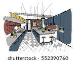 modern kitchen interior in loft ... | Shutterstock .eps vector #552390760