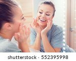 beauty skin care. young... | Shutterstock . vector #552395998