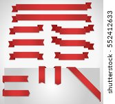 red ribbon banners set isolated ... | Shutterstock .eps vector #552412633