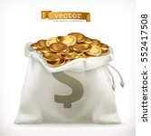 Moneybag And Gold Coins. Money...
