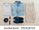 top of view men fashion set... | Shutterstock . vector #552428710
