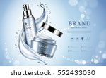 Moisturizing cosmetic products ad, light blue bokeh background with beautiful containers and watery texture in 3d illustration | Shutterstock vector #552433030