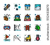 thin line art snowboarding and... | Shutterstock .eps vector #552433870
