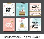 set of birthday greeting cards... | Shutterstock .eps vector #552436600