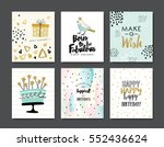 set of birthday greeting cards... | Shutterstock .eps vector #552436624