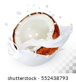 coconut in a milk splash on a... | Shutterstock .eps vector #552438793