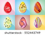 postcards with painted easter... | Shutterstock .eps vector #552443749