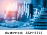 Stock photo double exposure stock financial indices on currency exchange financial stock market in accounting 552445588