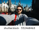 funny bearded man backpacker... | Shutterstock . vector #552468463