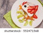 kid's breakfast toast with... | Shutterstock . vector #552471568