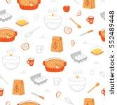 apple pie ingredients seamless...   Shutterstock .eps vector #552489448