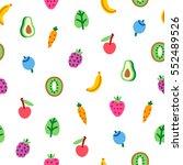 veggies and fruits cartoon... | Shutterstock .eps vector #552489526