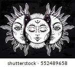 beautiful moon and sun with... | Shutterstock .eps vector #552489658