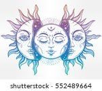 beautiful moon and sun with... | Shutterstock .eps vector #552489664