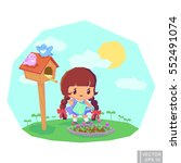 spring child girl with watering ... | Shutterstock .eps vector #552491074