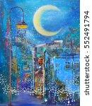 moonlight and streetlamp | Shutterstock . vector #552491794