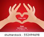 hand heart gesture  love finger ... | Shutterstock .eps vector #552494698