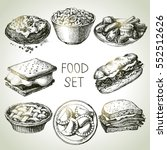hand drawn food sketch set of... | Shutterstock .eps vector #552512626