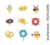 cartoon cute bakery characters... | Shutterstock .eps vector #552512698