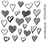 hand drawn hearts set for... | Shutterstock .eps vector #552513910
