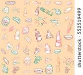 doodle sketch food vector... | Shutterstock .eps vector #552519499