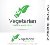 vegetarian logo template design ... | Shutterstock .eps vector #552521938