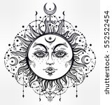 sun and moon. vintage bohemian... | Shutterstock .eps vector #552522454