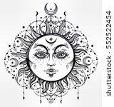 Sun And Moon. Vintage Bohemian...