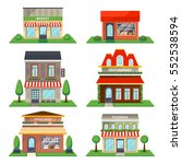 restaurant and shop facade set... | Shutterstock .eps vector #552538594