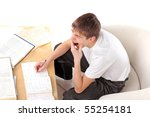 bored and tired student study... | Shutterstock . vector #55254181