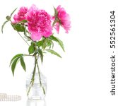 Stock photo bouquet of pink peonies on a white background flowers for valentine s day 552561304
