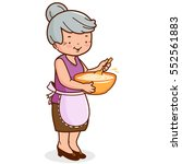 grandma holding a bowl and... | Shutterstock .eps vector #552561883