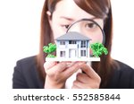 real estate agent inspecting a... | Shutterstock . vector #552585844
