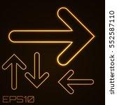 neon contour arrows set. vector ... | Shutterstock .eps vector #552587110