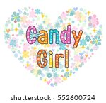candy girl greeting card. stock ... | Shutterstock . vector #552600724