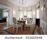 dining room in luxury home with ... | Shutterstock . vector #552603448