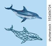 dolphin fish sea polygonal low... | Shutterstock .eps vector #552606724