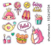 colorful vector patch badges... | Shutterstock .eps vector #552619534