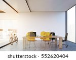 wooden table with yellow... | Shutterstock . vector #552620404