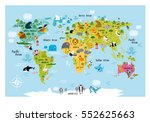 vector map of the world with... | Shutterstock .eps vector #552625663