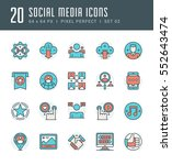 line icons set. flat thin... | Shutterstock .eps vector #552643474