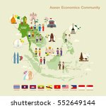 asean economics community aec ... | Shutterstock .eps vector #552649144