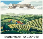 rural landscape in graphical... | Shutterstock .eps vector #552654940