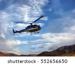 Helicopter Flying  Blue Sky An...