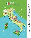italy travel map  italian... | Shutterstock .eps vector #552656896