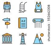 travel icons set line ... | Shutterstock .eps vector #552662308